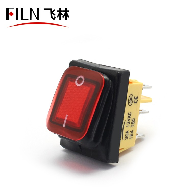 110V yellow 6pin kcd4 onon momentary rocker switch