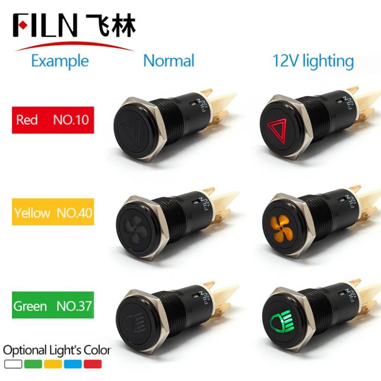 16mm 12V Custom Car Symbol Indicator Light