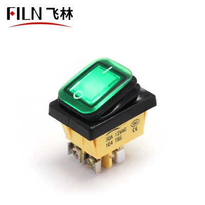 220V 15A GREEN LED Screw feet 4PIN ip67 BOAT ROCKER SWITCH