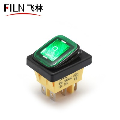 3 Way Rocker Switch 110V 15A Yellow LED ON OFF ON Momentary