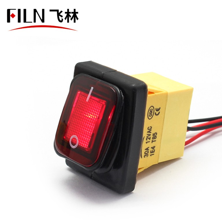 20A 220V Custom Logo Waterproof IP68 Kitchen Equipment Metal Marine Rocker Switch With Wire