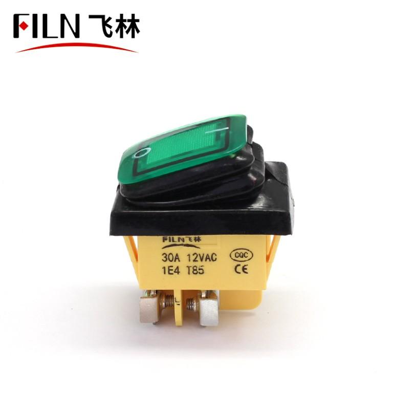 220V 15A GREEN LED Screw feet 4PIN ip67 BOAT ROCKER SWITCH