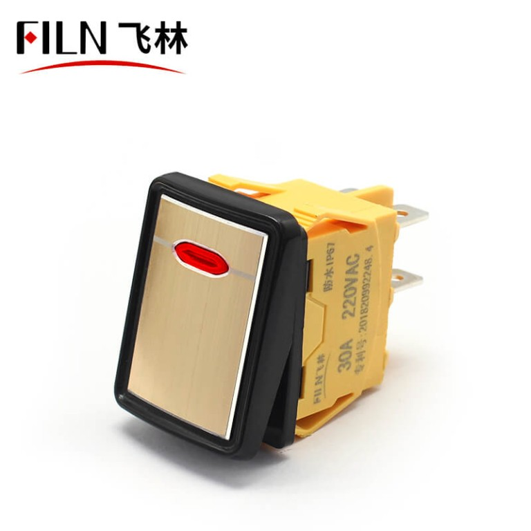 30A 12V 250V Waterproof IP67 Black Silver Gold Metal Surface High-end Rocker Light Switch