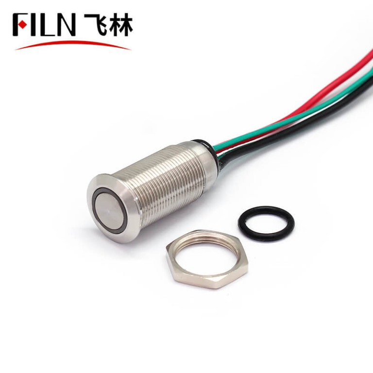 12MM IP67 Waterproof 120V Mini Red Push Button Starter With Wire