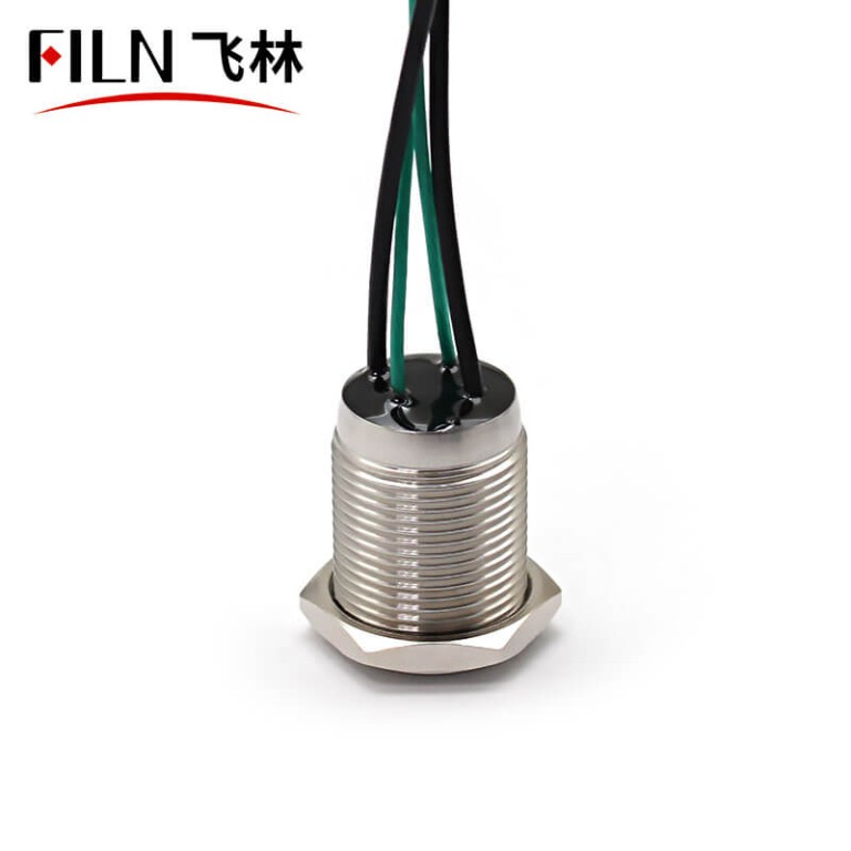16MM 12V Green LED Metal Push Button Light Switch With Wire