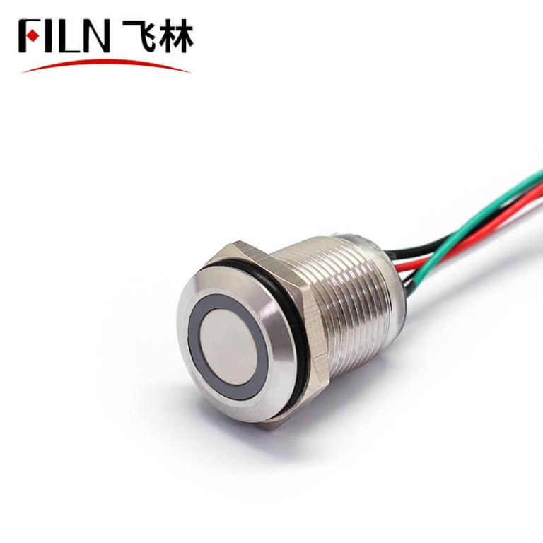 16MM LED Metal Push Button Switch 12V IP68 Green Bule Three Colors
