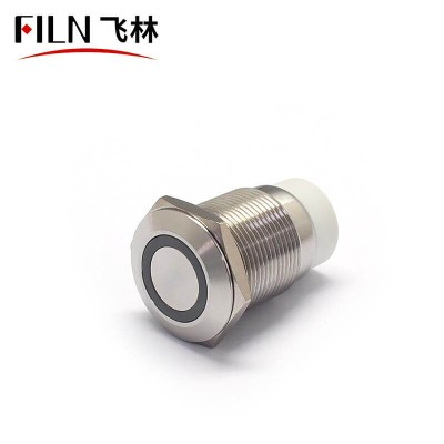 FILN 19MM RJ9 3V White LED Illuminated Push Button Switch