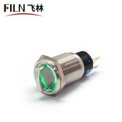 3 Way Push Button Switch 19MM 12V LED Metal Rotary Latching Illuminated
