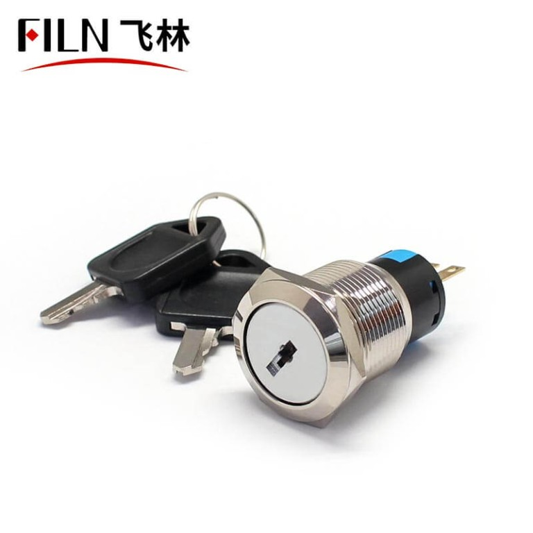 FILN 19MM Metal Electronic Key Lock Round Push Button Switches With 3 Or 6 Poles