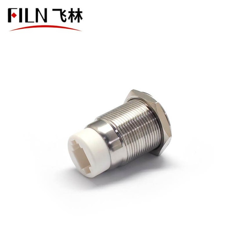 FILN 19mm RJ9 Push Button Switch 3V White LED Illuminated