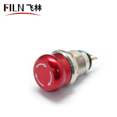 19MM Mushroom Button Maintain Function Emergency Stop metal FILN push button Switch