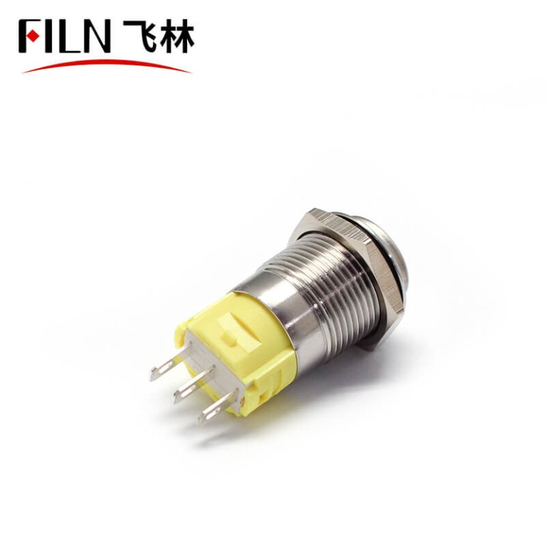 5PIN 16MM PUSH OFF 120v black  momentary Stainless steel push button switch