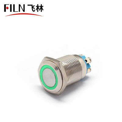 16mm IP67 12V Green LED Push Button Switch