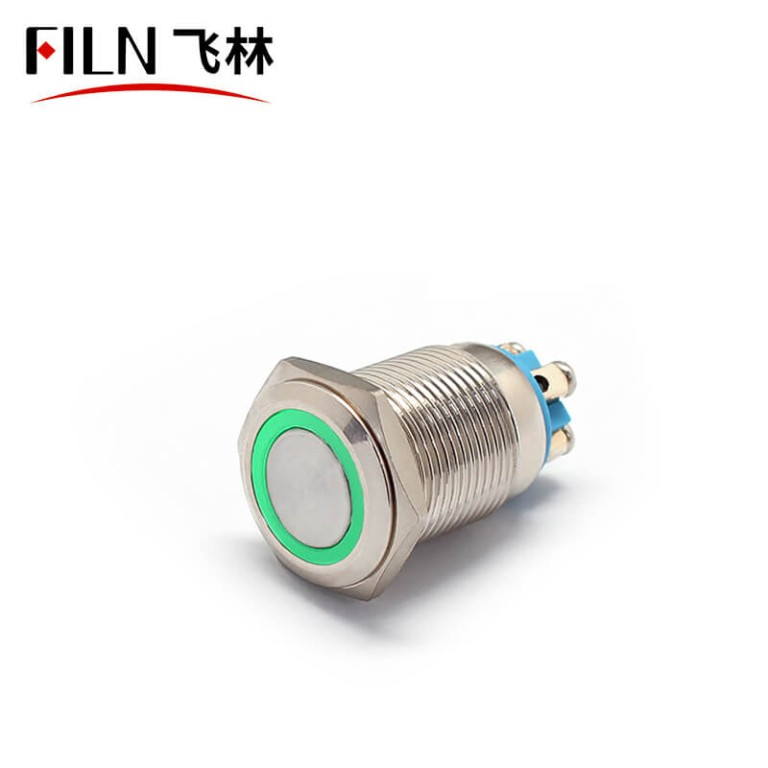 16mm ip67 12v green led illuminated on off circuit with one push button switch