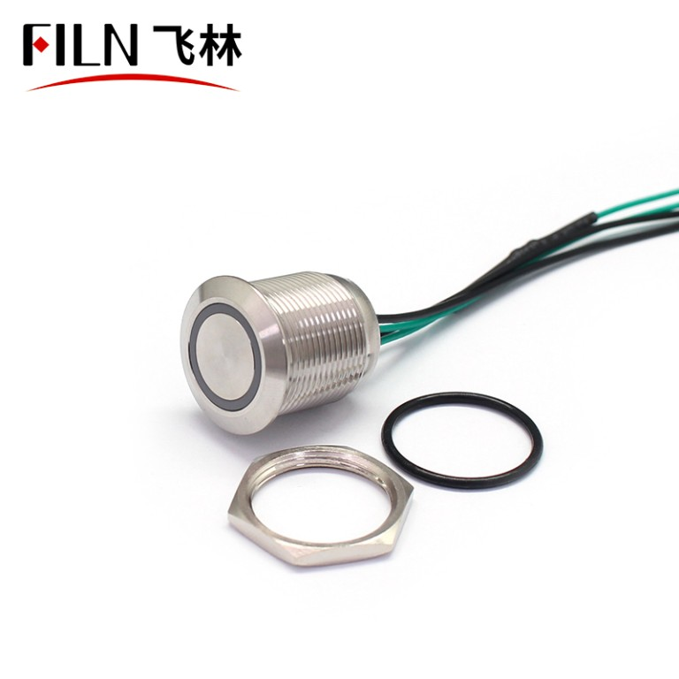 FILN 19MM Waterproof IP67 12V Red LED Push Button Switch