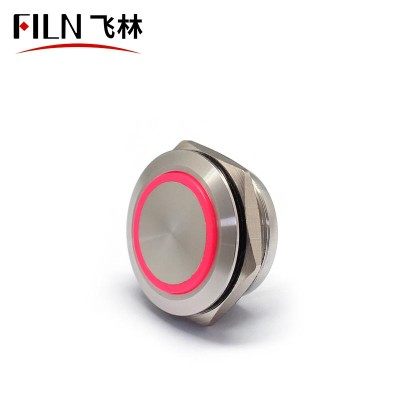 22MM 12V Water Proof Computer Thin Metal Momentary Push Button Switch