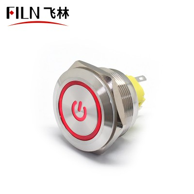 30MM 5PIN IP67 Power Symbol Metal Push Button Switch