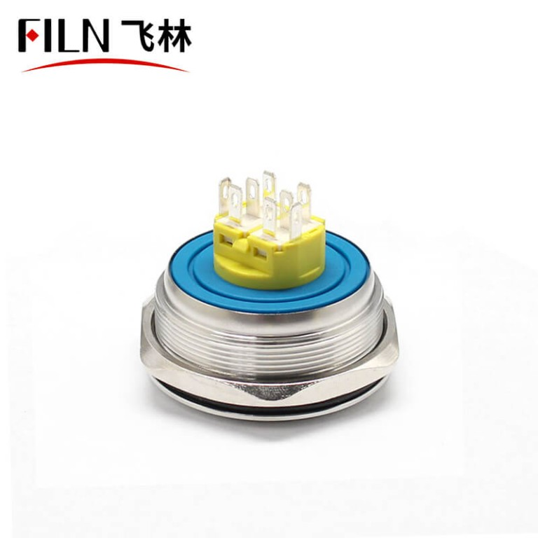 40MM 8PIN IP67 Metal Ring Push Button Switch With Light
