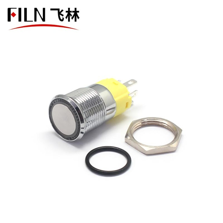 16mm Flat Head, Terminal Pin Concave Metal Push Button Switch
