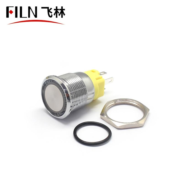 19MM Flat Head Terminal Pin Concave Momentary Push Button Switch