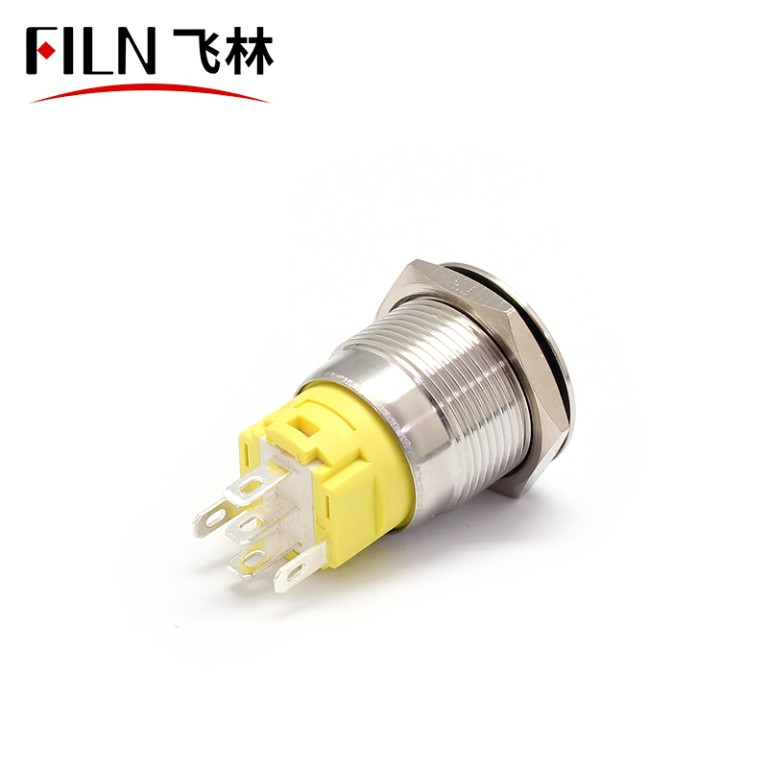 19MM Flat Head, Terminal Pin Concave Metal Push Button Switch