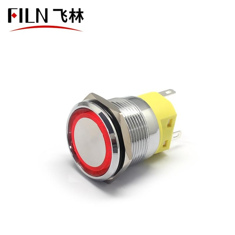 22MM 12v Waterproof Red LED Illuminated Push Button Switch