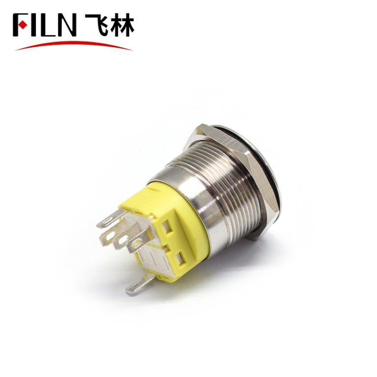 22MM Flat Head Terminal Pin Concave Metal Push Button Light Switch