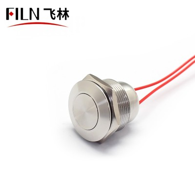 FILN 22MM Flat Stainless Steel Push Button Switch
