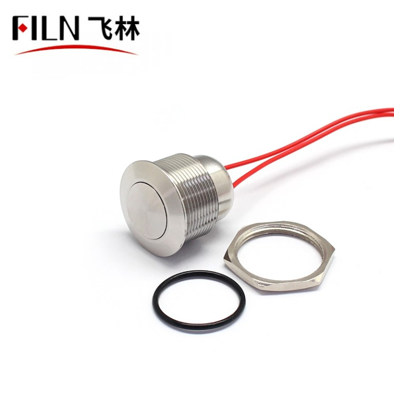 FILN 110V Momentary Push Button Switch 22MM Flat Stainless Steel