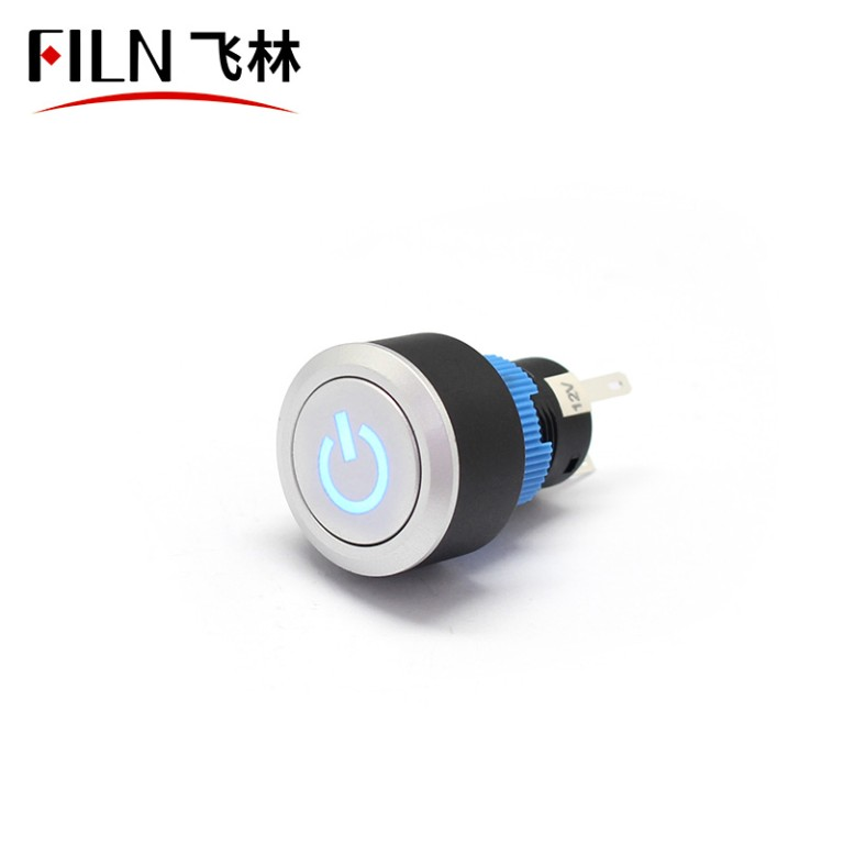 FILN 22mm Illuminated 12V Led Reset Round Momentary Plastic Power Logo Momentary Switch
