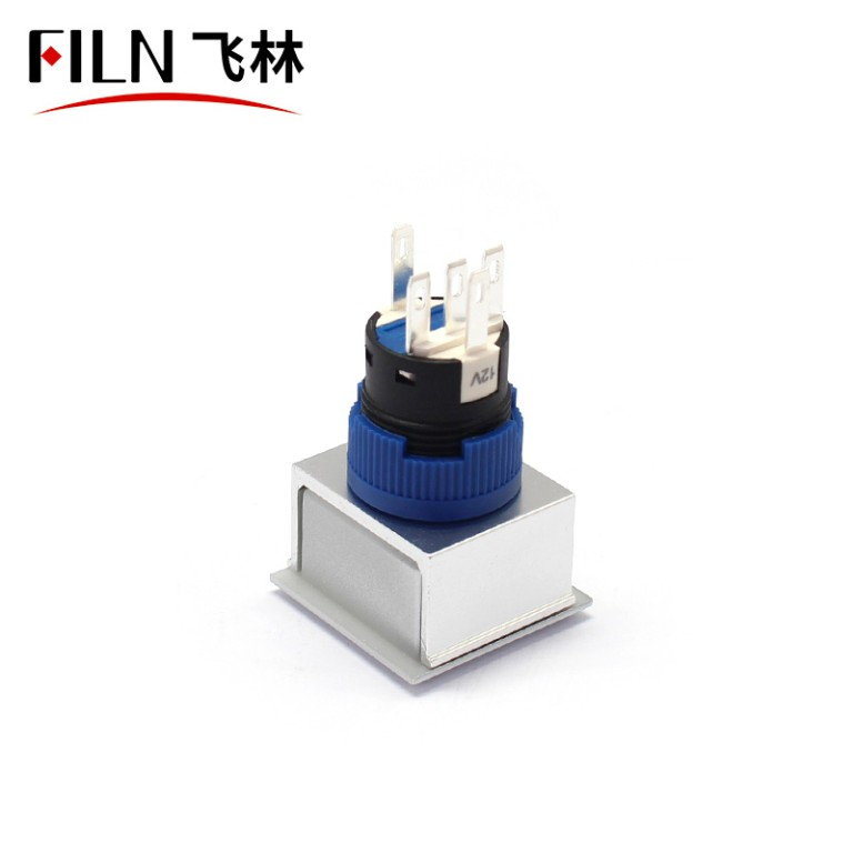 Push Switch With Terminal Pins Waterproof IP67 1no1nc LED Blue Momentary 12V 220V