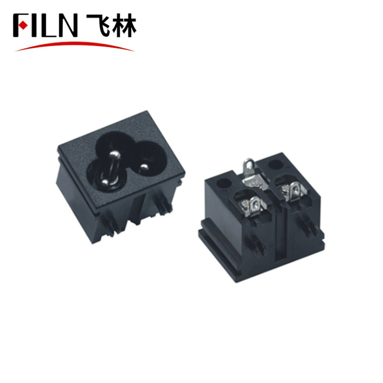 Connector Socket Pin Power Connector Socket Black Screw Mount 3 Pins Inlet Power Plug Socket