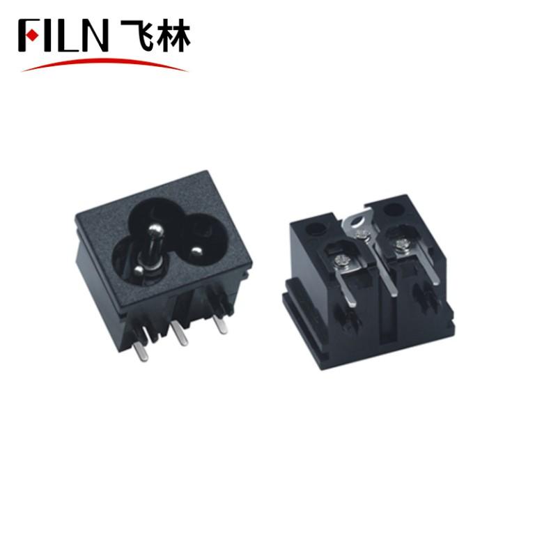 Power Socket AC 125V US Outlet Panel Mount Power Rewiring Socket Black