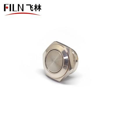 FILN 16mm Waterproof 2Pin Solder Terminal Flat Head Metal Push Button