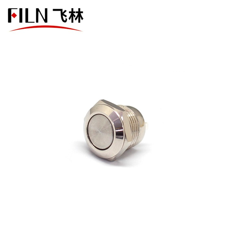 FILN Silver 12mm Short Length 4 Soldering Pin No Light Momentary Metallic Push Button