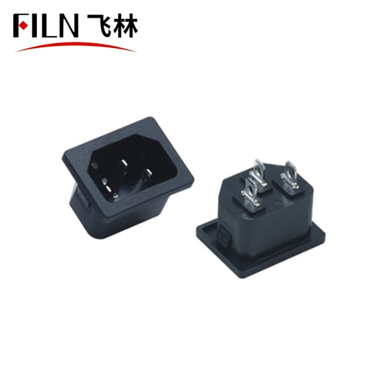 Black AC Power Panel Socket Rewirable Wiring Plug Electric