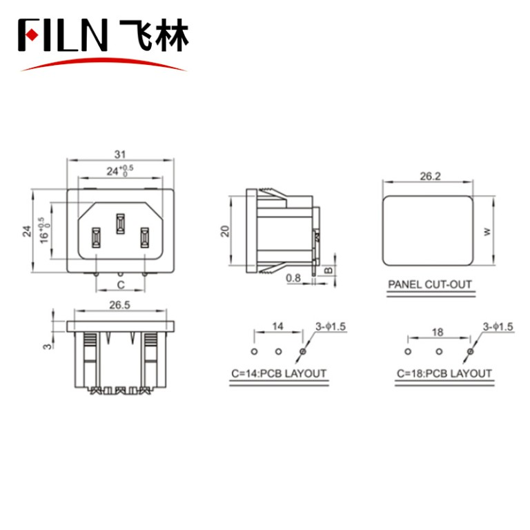 Power Inlets Screw Mount AC Receptacle Factory Direct Sales