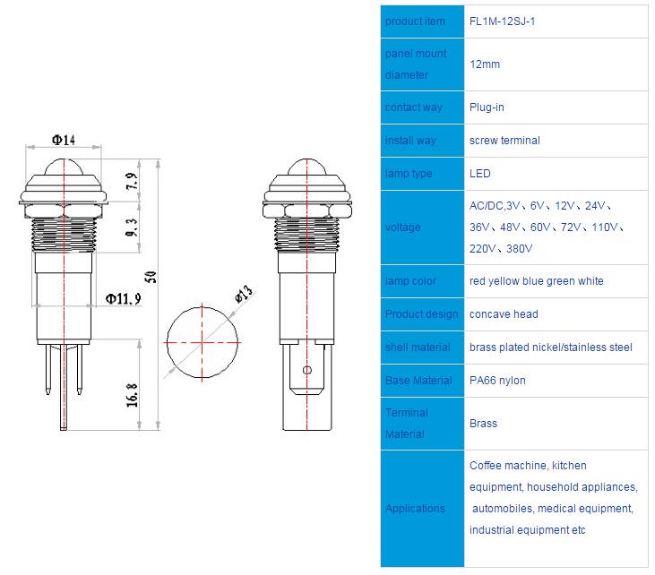 FL1M-12SJ-1  Outline & installation size