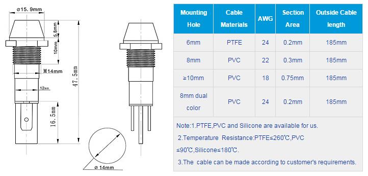 FL1M-14CJ-1 Outline & installation size