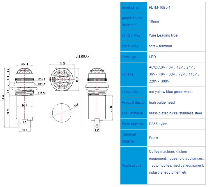 FL1M-16BJ Outline & installation size