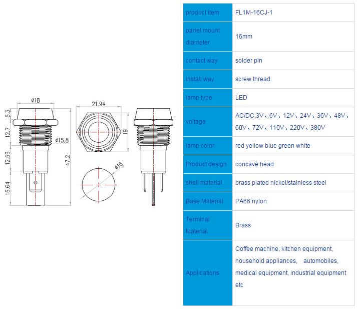 FL1M-16CJ-1 Outline & installation size
