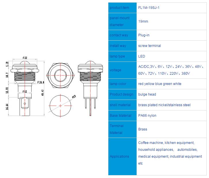 FL1M-19SJ-1 Outline & installation size