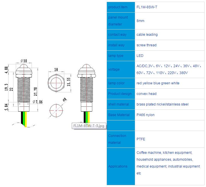 FL1M-8SW-T Outline & installation size