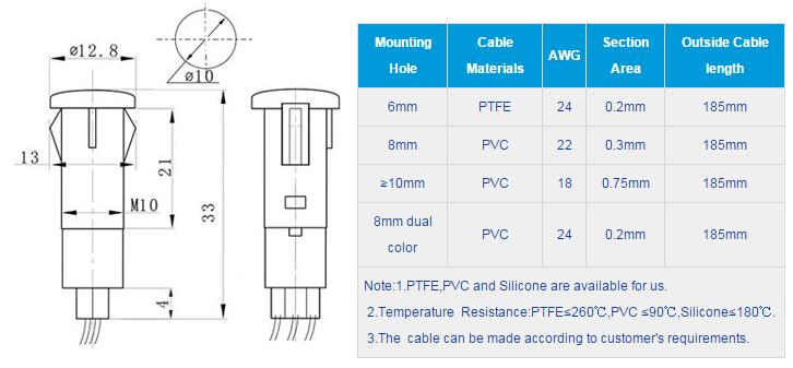 FL1P-10QW-1D Outline & installation size