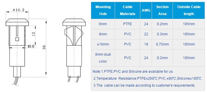 FL1P-10QW-2D Outline & installation size