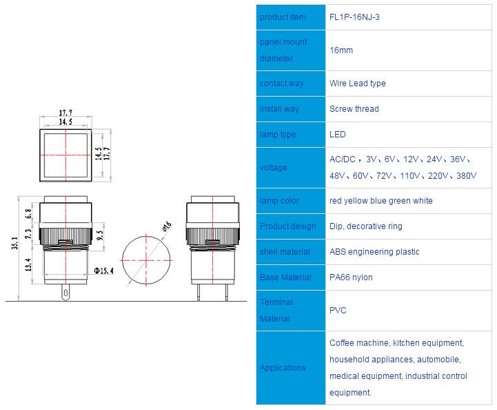 FL1P-16NJ-3 Outline & installation size