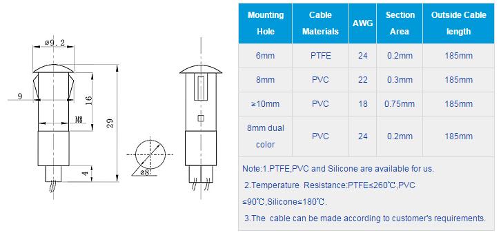 FL1P-8QW-2 Outline & installation size