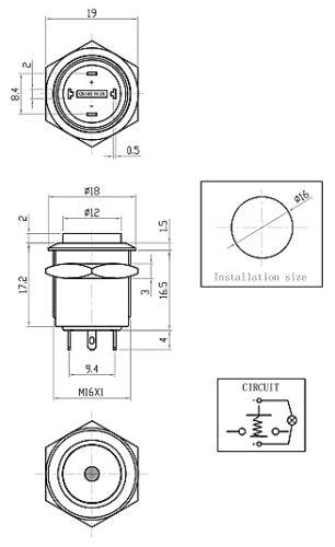 16mm 0 63inch stainless steel flat 1no dot light momentary short 4 solder pins metal push button