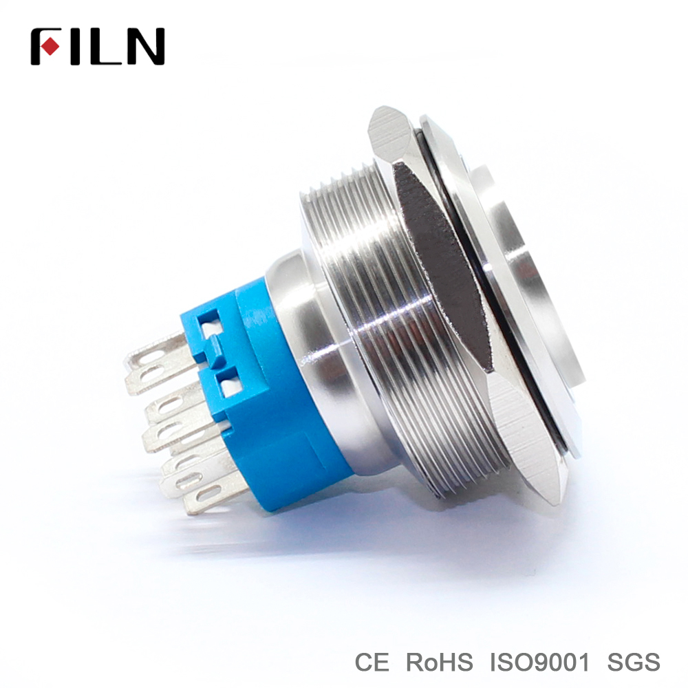 Indicatorlight 30mm 118inch Ring Led Illuminated Flat Head Metal Electrical Wiring Push Button Switch With Power Symbol