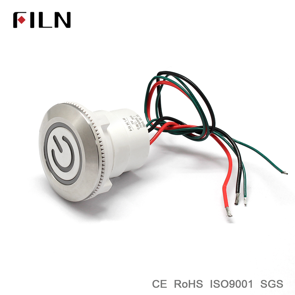30mm 1 18inch ring led illuminated wire leading metal push button